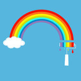 Rainbow cloud in the sky and paint roller with Royalty Free Stock Photo