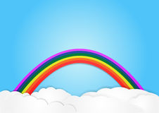 Rainbow on cloud, vector, copy space for text, illustration Royalty Free Stock Photo