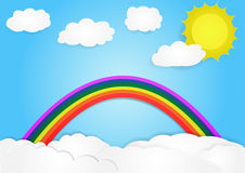 Rainbow on cloud, vector, copy space for text, illustration. Paper art and origami style, children book cover royalty free illustration