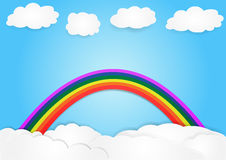 Rainbow on cloud, vector, copy space for text, illustration Royalty Free Stock Image