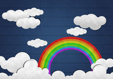 Rainbow  and Cloud on Wooden Background Royalty Free Stock Photos