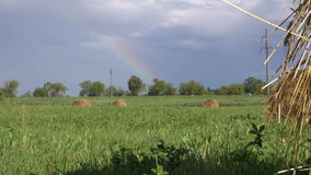 Rainbow in clouded sky over field with haystacks stock video