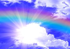 Rainbow in clouds Stock Photos