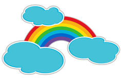 Rainbow and Clouds. Rainbow with stylized cloud as isolated clipart Royalty Free Stock Photography