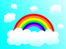 Rainbow and Clouds. An image of a rainbow and clouds with a blue sky background Royalty Free Stock Image