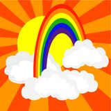Rainbow in clouds. Simple vector drawing of rainbow, clouds and sun Royalty Free Stock Image
