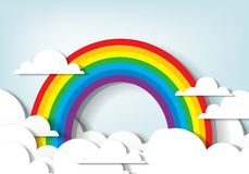 Rainbow and clouds. Vector applique. Rainbow and clouds Stock Photo