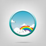 Rainbow and clouds. Vector poster. Rainbow and clouds Royalty Free Stock Photos