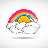 Rainbow with clouds. Abstract background Stock Photography