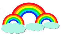 Rainbow and clouds. In white background Royalty Free Stock Photos