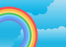 Rainbow and clouds. Illustrated rainbow in clouds background Stock Image