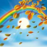 Rainbow Sky Clouds Sun Autumn Foliage Stock Photos