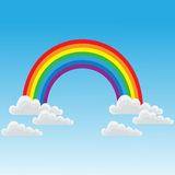 Rainbow and clouds Stock Photos