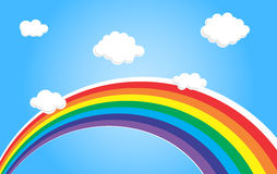 Rainbow and clouds. Backdrop for kids room Stock Image