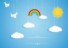 Rainbow, clouds, birds and sun toys Stock Photography