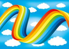 Rainbow and clouds. Rainbow and clouds on a blue background Royalty Free Stock Photography