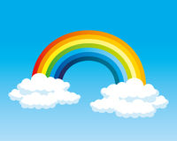 Rainbow and clouds. Rainbow and clouds on a blue background Stock Photos