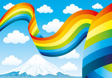 Rainbow and clouds in the blue sky Royalty Free Stock Photography