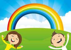 Rainbow and clouds. Stock Images