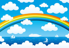 Rainbow and clouds in the blue sky Royalty Free Stock Photos