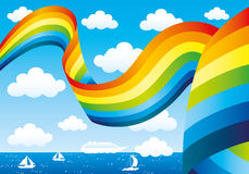 Rainbow and clouds in the blue sky Stock Photography