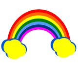 Rainbow with clouds. stock illustration
