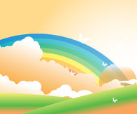 Rainbow, Clouds and the Butterflies. Vector illustration of Clouds over a green meadow and a colorful rainbow over the clouds and white butterflies Stock Photos