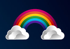 Rainbow with clouds cartoon background Stock Images