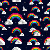 Rainbow with clouds cartoon seamless pattern Royalty Free Stock Photos