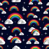 Rainbow with clouds cartoon seamless pattern