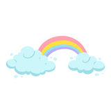 Rainbow and clouds royalty free illustration