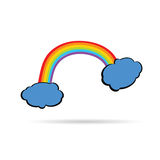 Rainbow between the clouds color vector. On a wihite Royalty Free Stock Photography