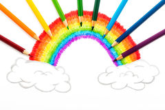 Rainbow and clouds drawing, abstract background from color pencils Royalty Free Stock Images