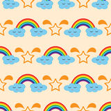 Rainbow, clouds with eyes and smile, silhouette stars. Seamless pattern. Royalty Free Stock Image