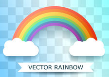 Rainbow and clouds . Flat Paper Style. Transparent Background. Stock Photos