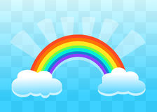 Rainbow And Clouds Flat Paper Style Transparent Background Royalty Free Stock Photography