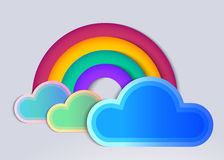 Rainbow and clouds. In flat style with long shadow Royalty Free Stock Photos