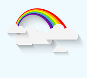 Rainbow and clouds in flat style with long whadow Royalty Free Stock Image