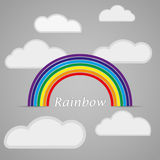 Rainbow with clouds on a gray background. Vector illustration Stock Photography