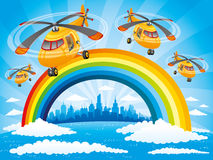 Rainbow, clouds and helicopters in the blue sky. Rainbow, clouds, helicopters in the blue sky and the city on the horizon Stock Photography