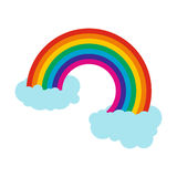 Rainbow with clouds icon. In flat style  on white background Royalty Free Stock Photos
