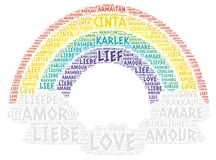 Rainbow and Clouds illustrated with Love Word Stock Images