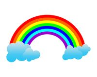 Rainbow with Clouds. Isolated on white background. Vektor ilustration Stock Photo
