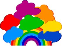 Rainbow with clouds Stock Photos