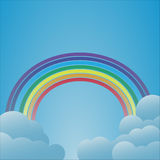 Rainbow with clouds on light blue background Stock Images