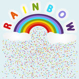 Rainbow with clouds and raindrops. Flat  illustration lettering of rainbow over bow with clouds and rain like colorful sprinkle lines and dots Royalty Free Stock Images