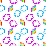 Rainbow and clouds seamless pattern.  Stock Photos