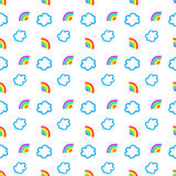 Rainbow and clouds seamless pattern.  Royalty Free Stock Photography
