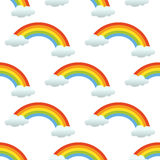 Rainbow Clouds Seamless Pattern on White Royalty Free Stock Photography