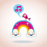 Rainbow clouds and singing bird Royalty Free Stock Photography